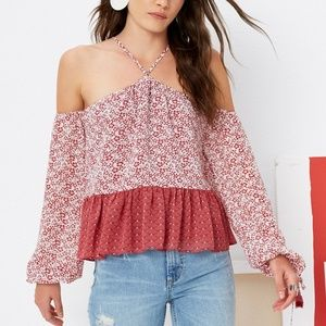 Tularosa Syrah Cold Shoulder Tassel Blouse NWT